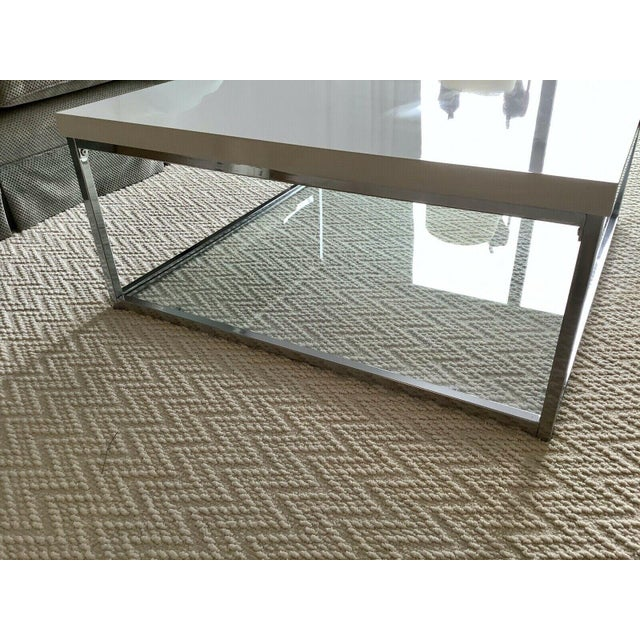 White Lacquer and Chrome Coffee Table With Tempered Glass Bottom Shelf For Sale In New York - Image 6 of 10