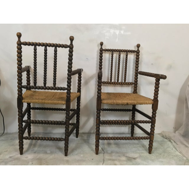 Oak Pair of Antique French Oak Spool Chairs For Sale - Image 7 of 8