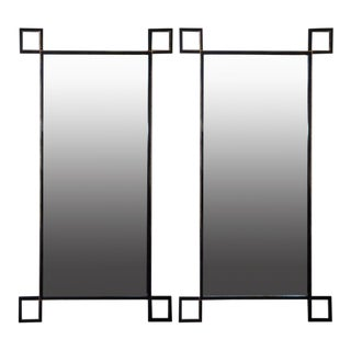 "Contemporary ""Oxyde"" Tall French Industrial Mirrors - a Pair For Sale"