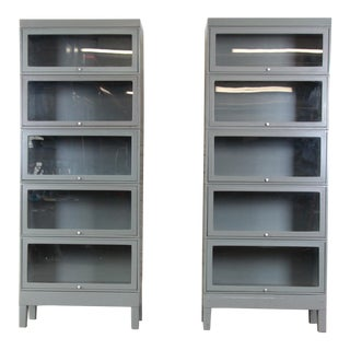 Globe Wernicke Mid-Century Modern Industrial Five-Stack Barrister Bookcases, 1960s For Sale