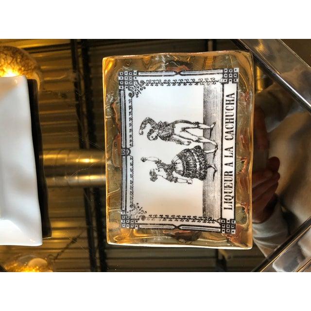 Mid Century Modern Italian Fornasetti Set of Three Porcelain Pin Trays / Decorative Dish - Image 3 of 6
