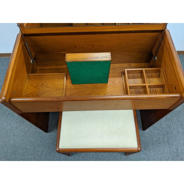 Danish Makeup Vanity With Stool For Sale - Image 6 of 10
