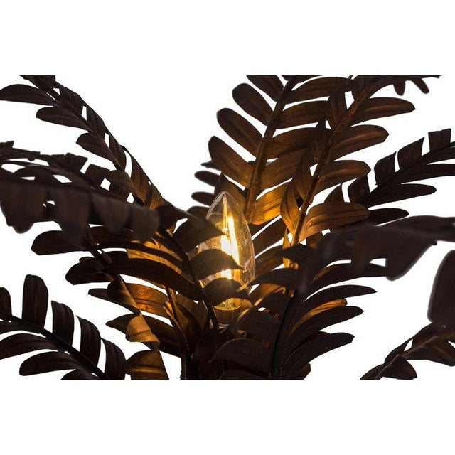Copper Maison Jansen Style Palmtree Table Lamp in Copper For Sale - Image 8 of 10