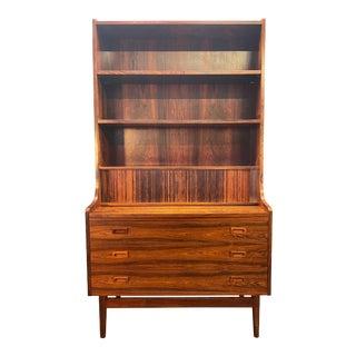 Vintage Danish Mid Century Modern Rosewood Secretary Bookcase by Johannes Sorth For Sale