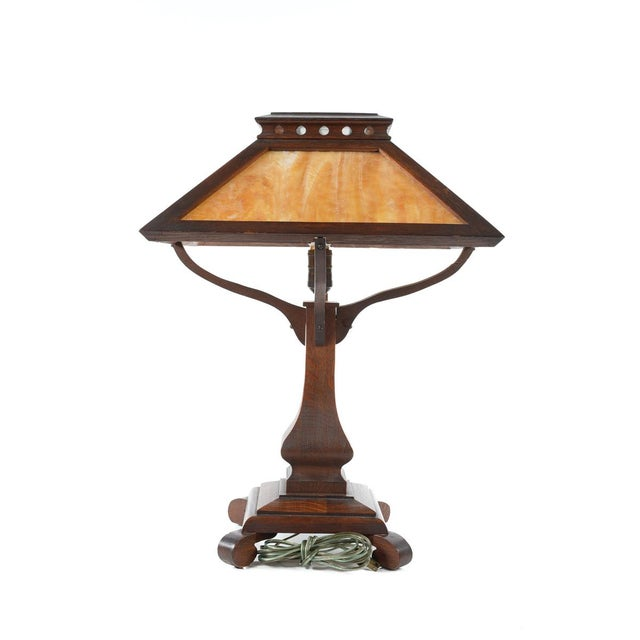 Arts & Crafts Original Mission Oak Table Lamp - Image 7 of 8