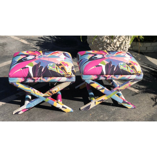 Diane von Furstenberg Diane Von Furstenberg Post Modern Butterfly Explosion X Benches - a Pair For Sale - Image 4 of 5