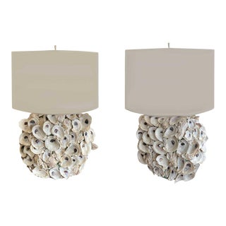 Oyster Shell Lamps with Custom Shades - a Pair For Sale