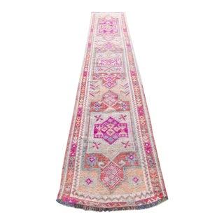 "Vintage 1940s Kurdish Orange Pink Geometric Wool Runner Rug - 13'5"" X 2' 8.5"""
