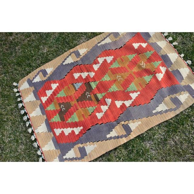 Red Turkish Traditional Handwoven Anatolian Nomadic Rustic Style Oushak Kilim Rug For Sale - Image 8 of 13