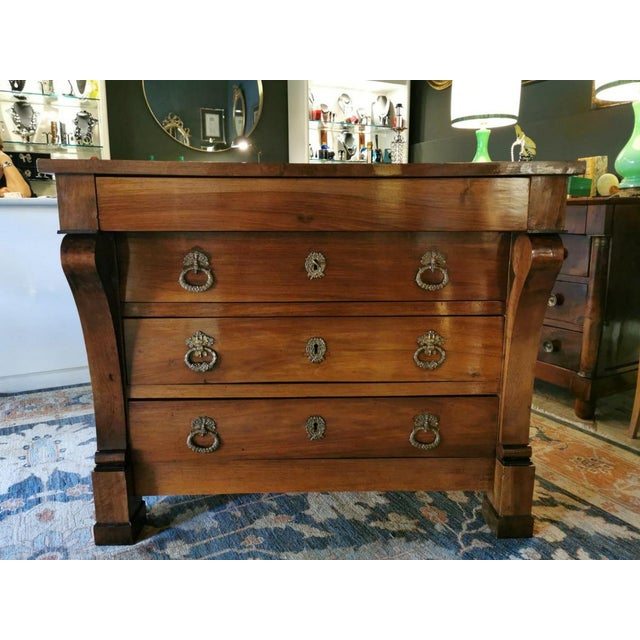 """French chest of drawers in walnut 1815; the top drawer at the top is """"secret"""", so it has no handles and is less spacious,..."""