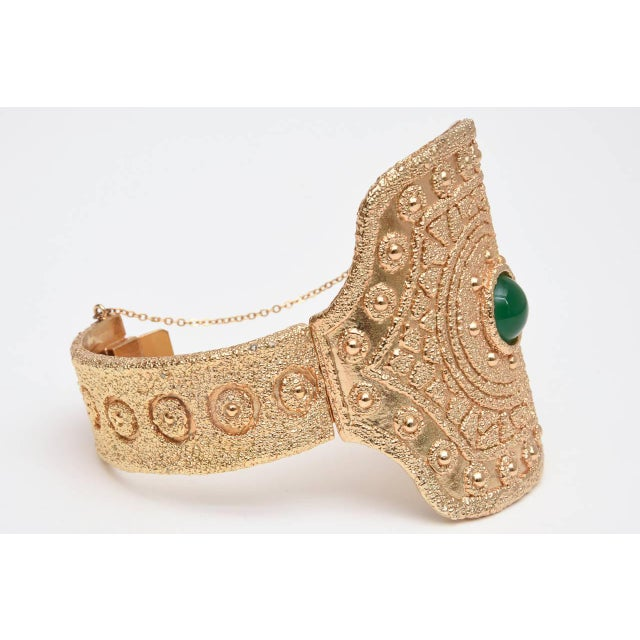 Metal Vintage Napier Textural Gold Plated Green Glass Cuff Bracelet For Sale - Image 7 of 10