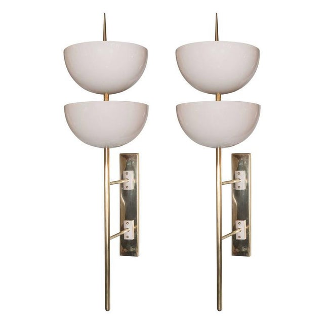 Pair of Monumental Reverse-Dome Trophy Sconces in White Enamel and Brass - Image 10 of 10