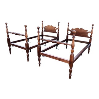 Antique Solid Cherry Twin Beds- a Pair For Sale