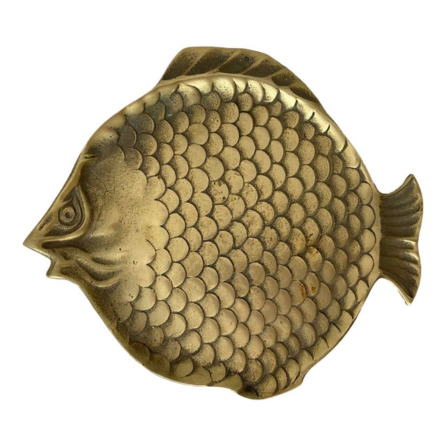 Vintage Brass Fish Plate For Sale