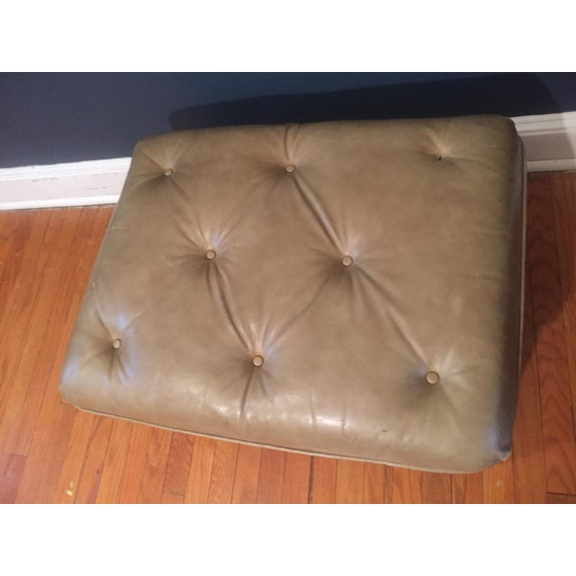 Vintage Distressed Leather Ottoman on Wheels For Sale In Philadelphia - Image 6 of 9