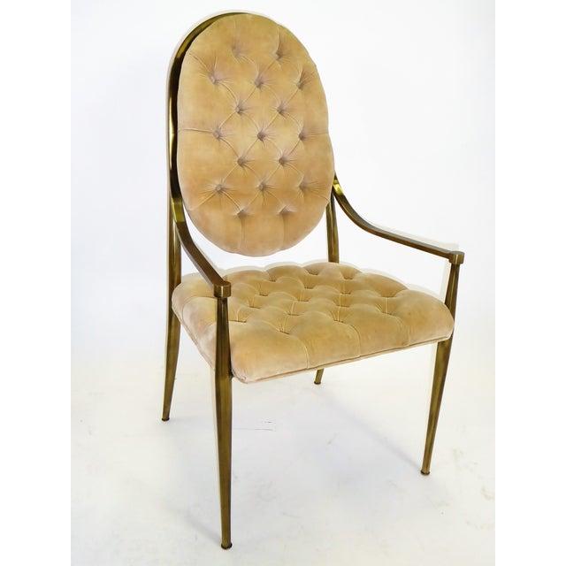 William Doezema 1960s Vintage Mastercraft Brass Tufted Velvet Dining Chairs - Set of 6 For Sale - Image 4 of 13