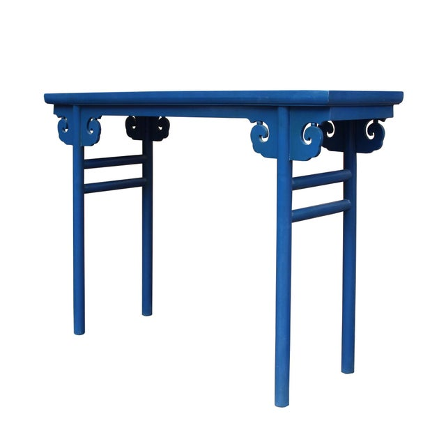 Asian Chinese Scroll Apron Rustic Blue Altar Console Table For Sale - Image 3 of 7
