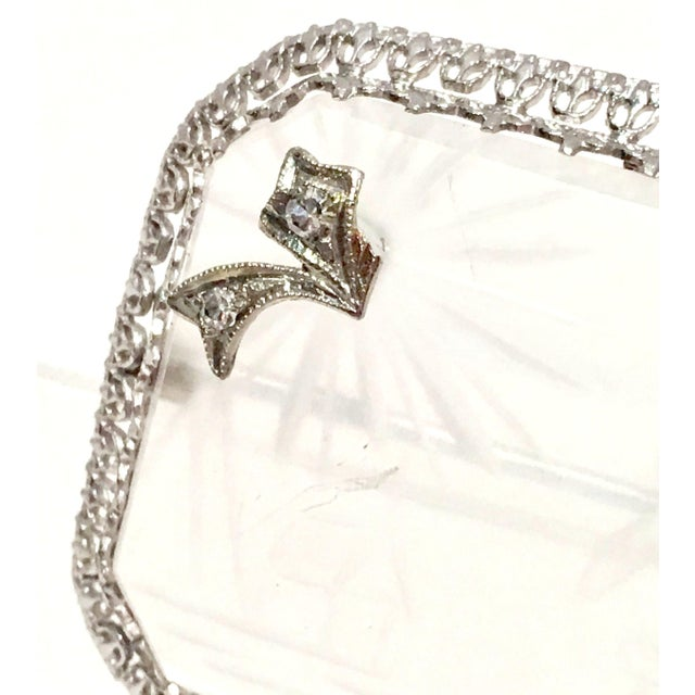 Antique Platinum Etched Crystal & Diamond Brooch For Sale In West Palm - Image 6 of 9