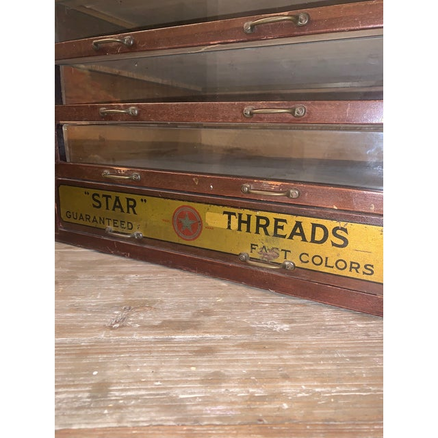 Antique Star Thread 5 Drawer Glass Front Display Cabinet For Sale In Houston - Image 6 of 13