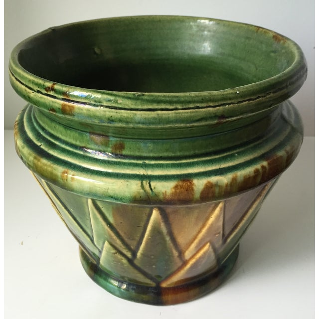 Antique Starburst Art Pottery Planter - Image 3 of 6