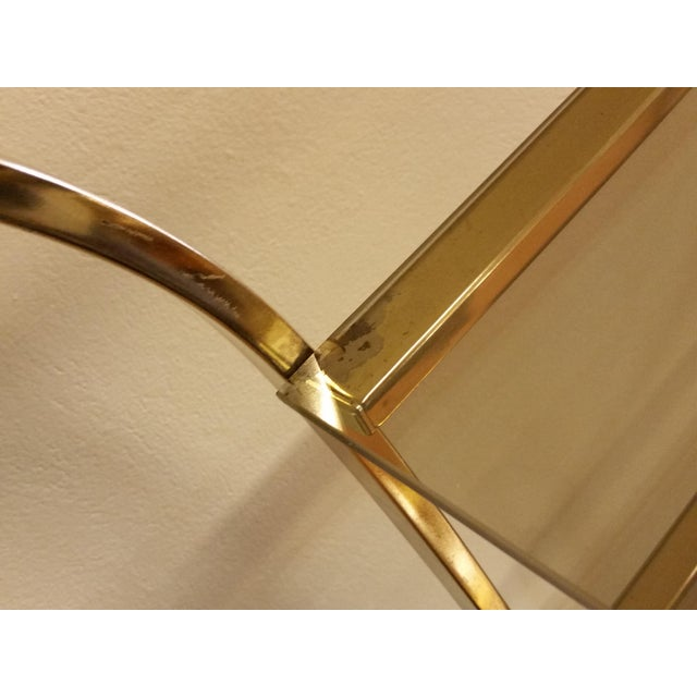 Hollywood Regency Double Waterfall Brass Etagere - Image 7 of 10