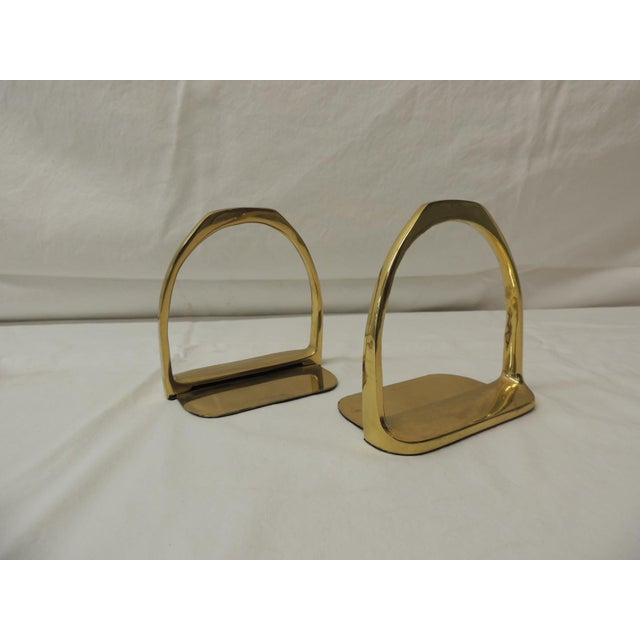 1980s Pair of Brass Hermes Style Horse Saddle Stirrups Bookends For Sale - Image 5 of 5