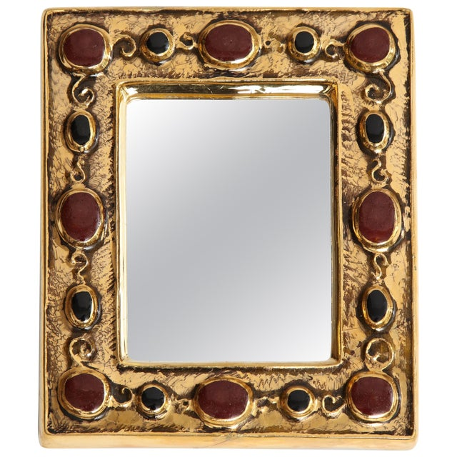 Ruby Red Jeweled François Lembo Mirror For Sale - Image 8 of 8