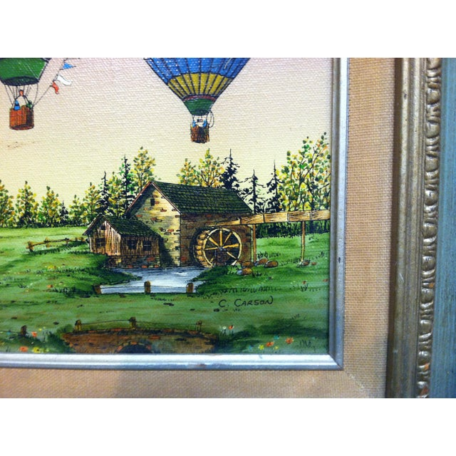 "Traditional Late 20th Century C. Carson ""Colorful Designed Balloons"" Framed Original Canvas Painting For Sale - Image 3 of 5"
