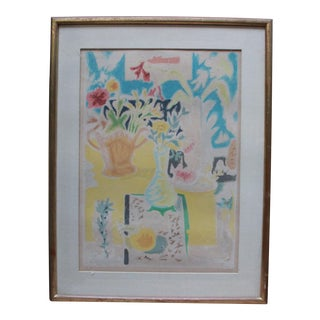 Expressionist Water-Color Still Life Painting Print For Sale