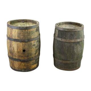 Antique Oak Wine Barrel Set - a Pair