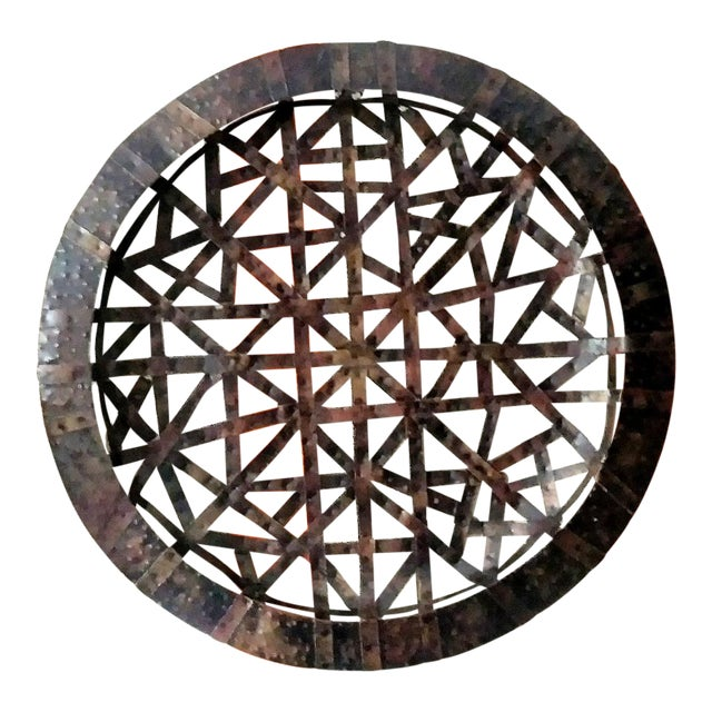 Brutalist Palecek Vintage Gigantic Welded Strips of Metal Wall Decor Platter For Sale