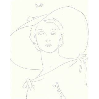 """Figurative Sarah Myers """"TheHat"""" Fashion Inspired Drawing For Sale"""