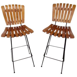Pair of Mid-Century Arthur Umanoff Slat Stools For Sale