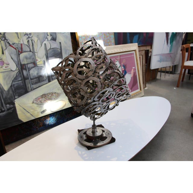 Mid 20th Century Great Abstract Artist Made Rotating Gear Cube Sculpture For Sale - Image 5 of 7