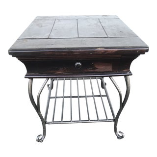 Black Distressed Wood and Wrought Iron Table For Sale