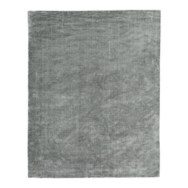 Exquisite Rugs Milton Hand Loom Viscose Light Silver - 6'x9' For Sale