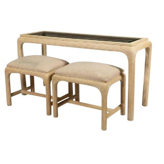 Modern Reed Console W/ Matching Benches For Sale
