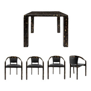 Vintage Tessellated Horn Game Table & Four Arm Chairs - 5 Pieces For Sale