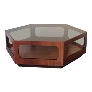 Mid-Century Modern Lane Hexagonal Walnut Coffee Table For Sale