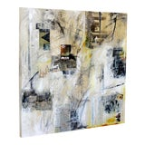 Image of Contemporary Modern Acrylic Mixed Media Art Visit Detroit Painting on Canvas For Sale