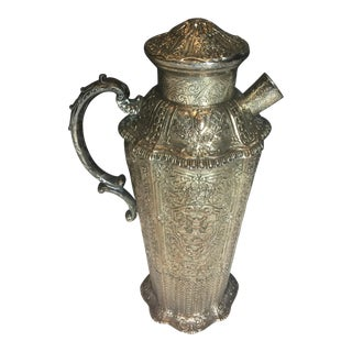 Antique Embossed Victorian Floral Silverplate Martini Shaker For Sale