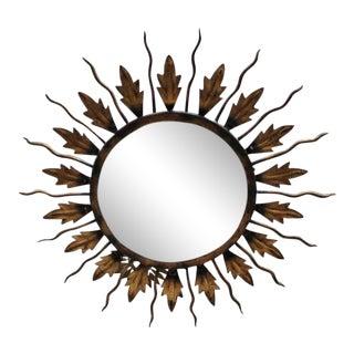 Spanish Gilt Metal Sunburst Flush Mount Ceiling Fixture