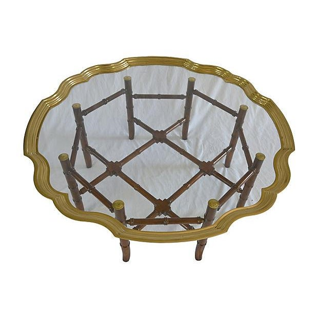 Brass Bamboo-Style Tray Coffee Table - Image 3 of 5