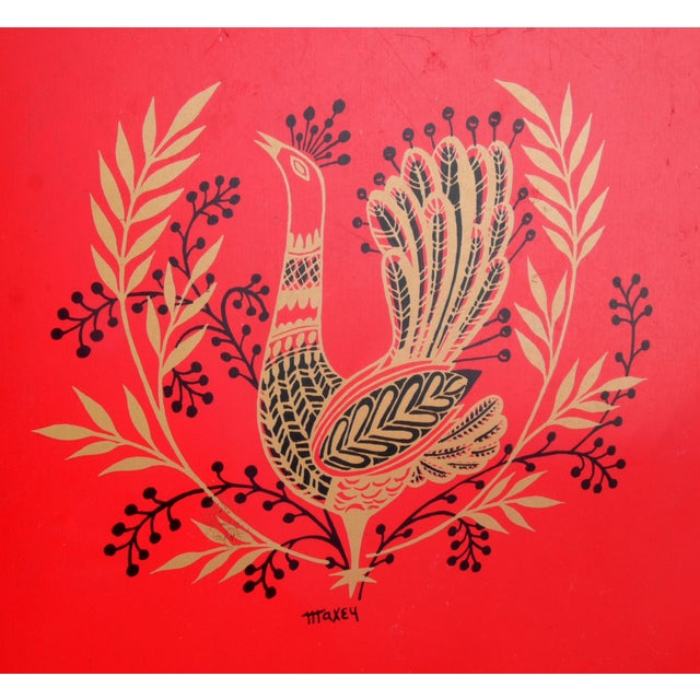 Mid-Century Modern Signed Maxey Vintage 1960s Peacock Tin Tray For Sale - Image 3 of 7