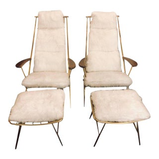 Hollywood Regency Style Fur Lounge or Chaise Chairs and Ottomans - a Pair
