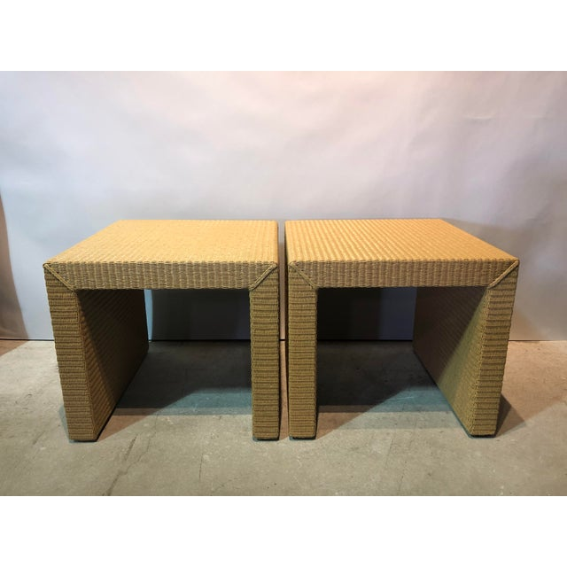 Resin Janus Et Cie Wicker Tables - a Pair For Sale - Image 7 of 7