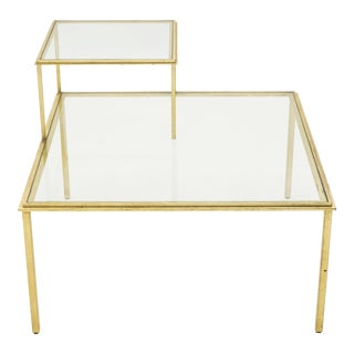 Roger Thibier Gilt Wrought Iron Glass Coffee End Table 1960s - A Pair For Sale