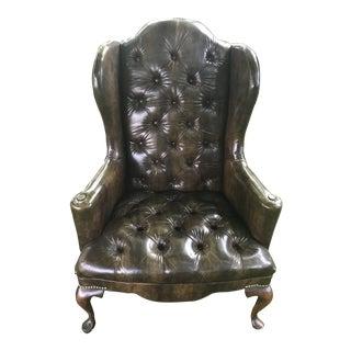 Vintage Vinyl Tortoiseshell Wingback Chair