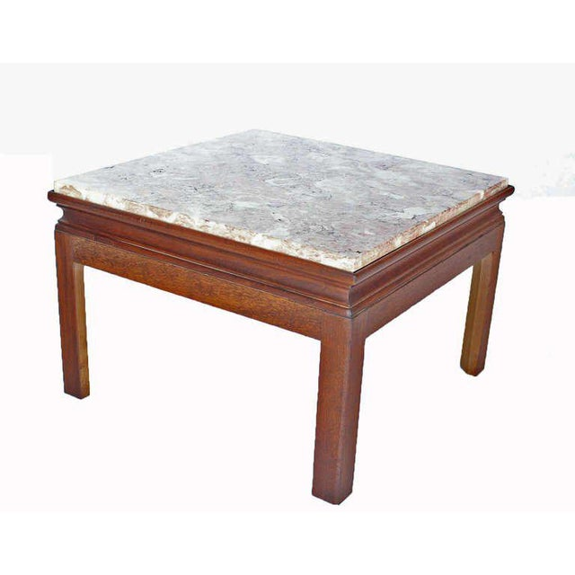 Mid-Century Modern Pair of Marble-Top Low End Tables For Sale - Image 4 of 8
