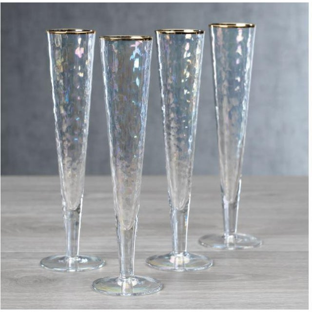 Modern Kenneth Ludwig Chicago Aperitivo Slim Champagne Flute With Gold Rim - Set of 12 For Sale - Image 3 of 4